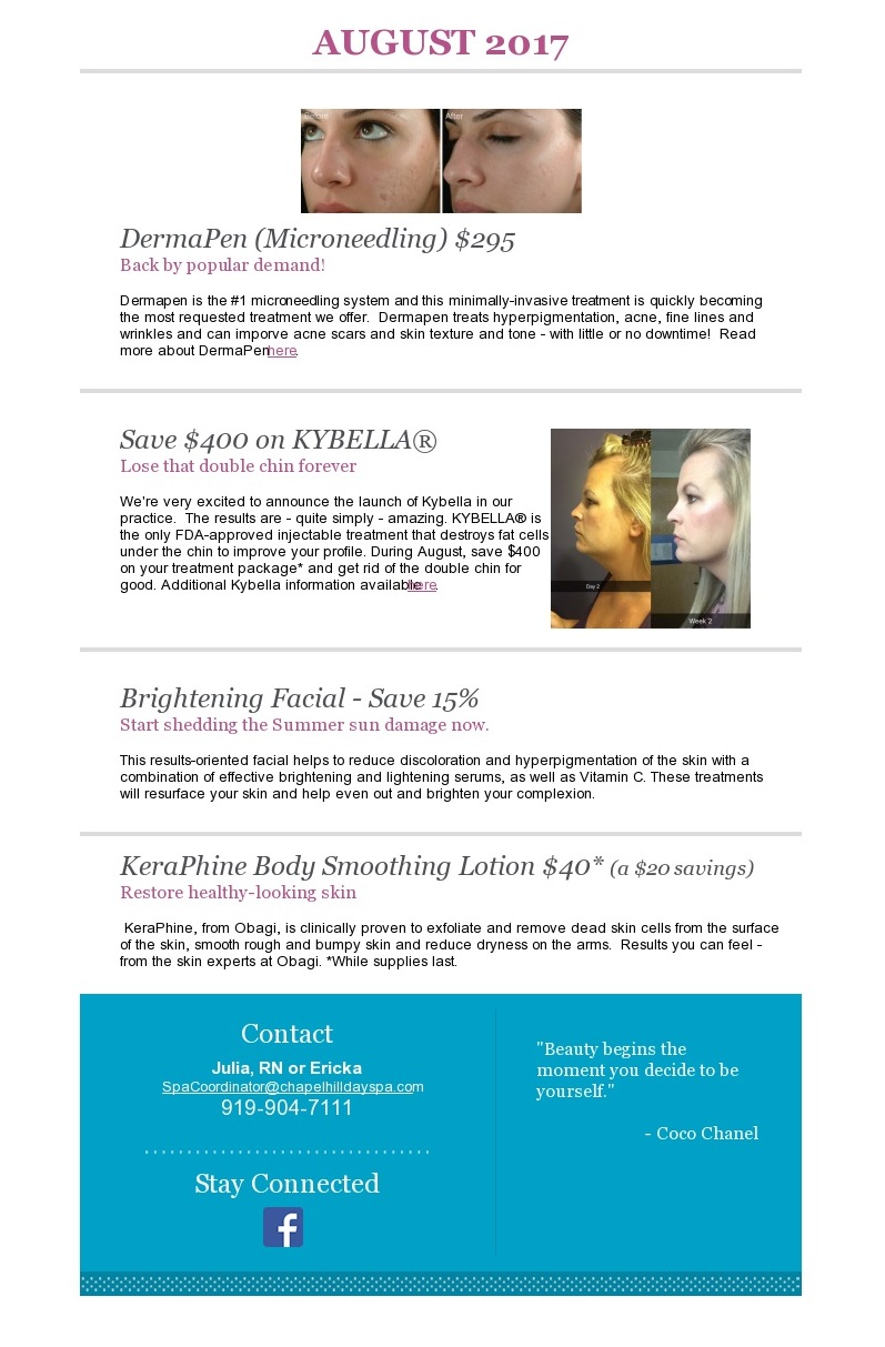 Medical Day Spa of Chapel Hill NC August specials