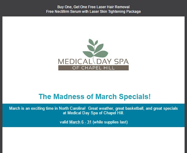 March 2017 Specials Medical Day Spa of Chapel Hill-top