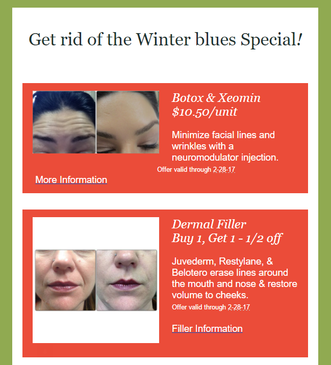 February 2017 Specials at Medical Day Spa of Chapel Hill NC
