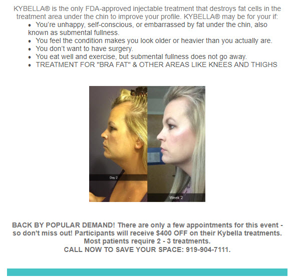 Kybella event image - July 17th 2018 at Medical Day Spa of Chapel Hill NC