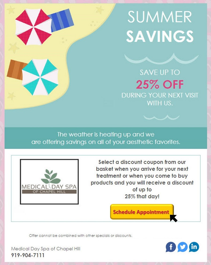 August Specials Savings at Medical Day Spa of Chapel Hill NC