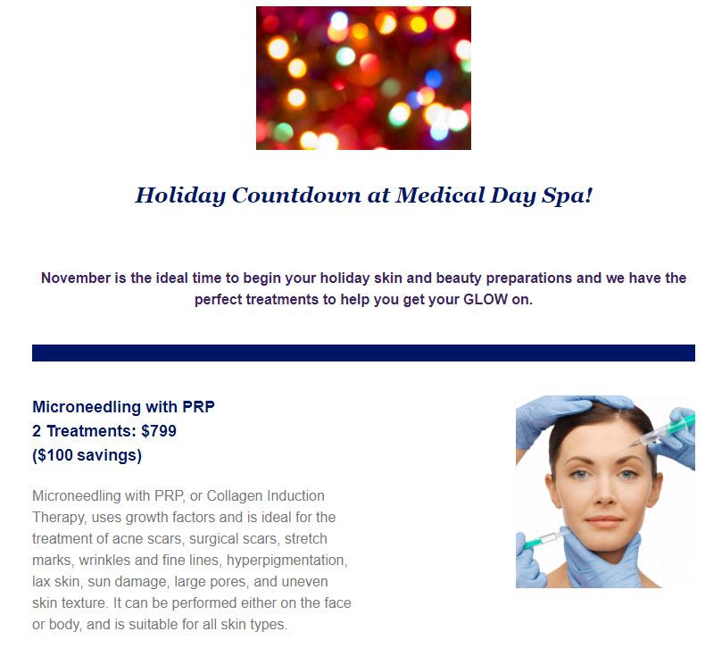 Holiday Countdown Microneedling at Medical Day Spa of Chapel Hill NC