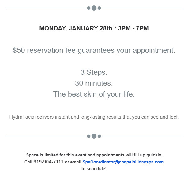 Hydrafacial Event Jan 28th 2019