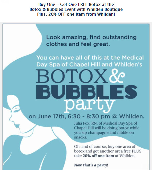 Botox and Bubbles Party at Medical Day Spa of CHapel Hill NC and Whilden