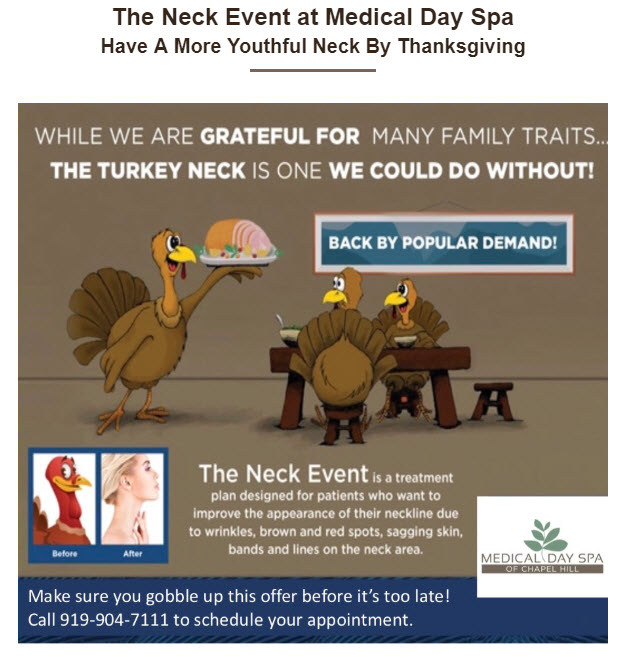 Turkey Neck Event Specials at Medical Day Spa of Chapel Hill NC